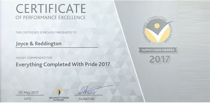 Awarded Certificate of Performance Excellence
